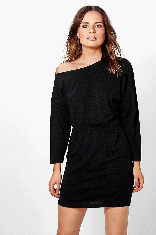 Harlow Slashneck Ribbed Tunic Dress