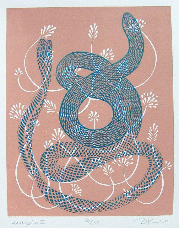 Snake and rose lino print 15
