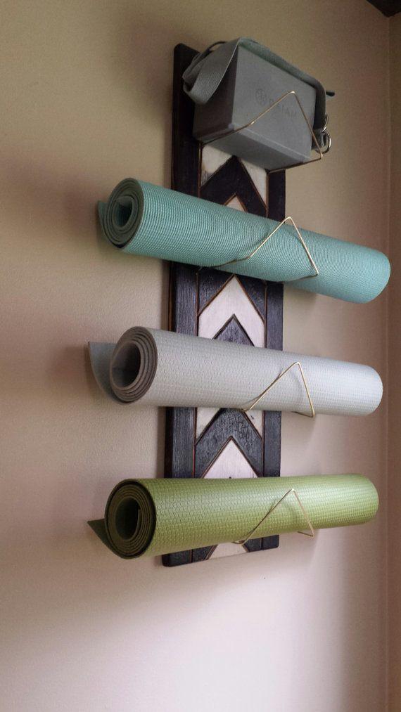 1 Thru 4 Tiered Chevron Yoga Mat Holder Home Gym Decor Yoga Decor Yoga Mat Holder