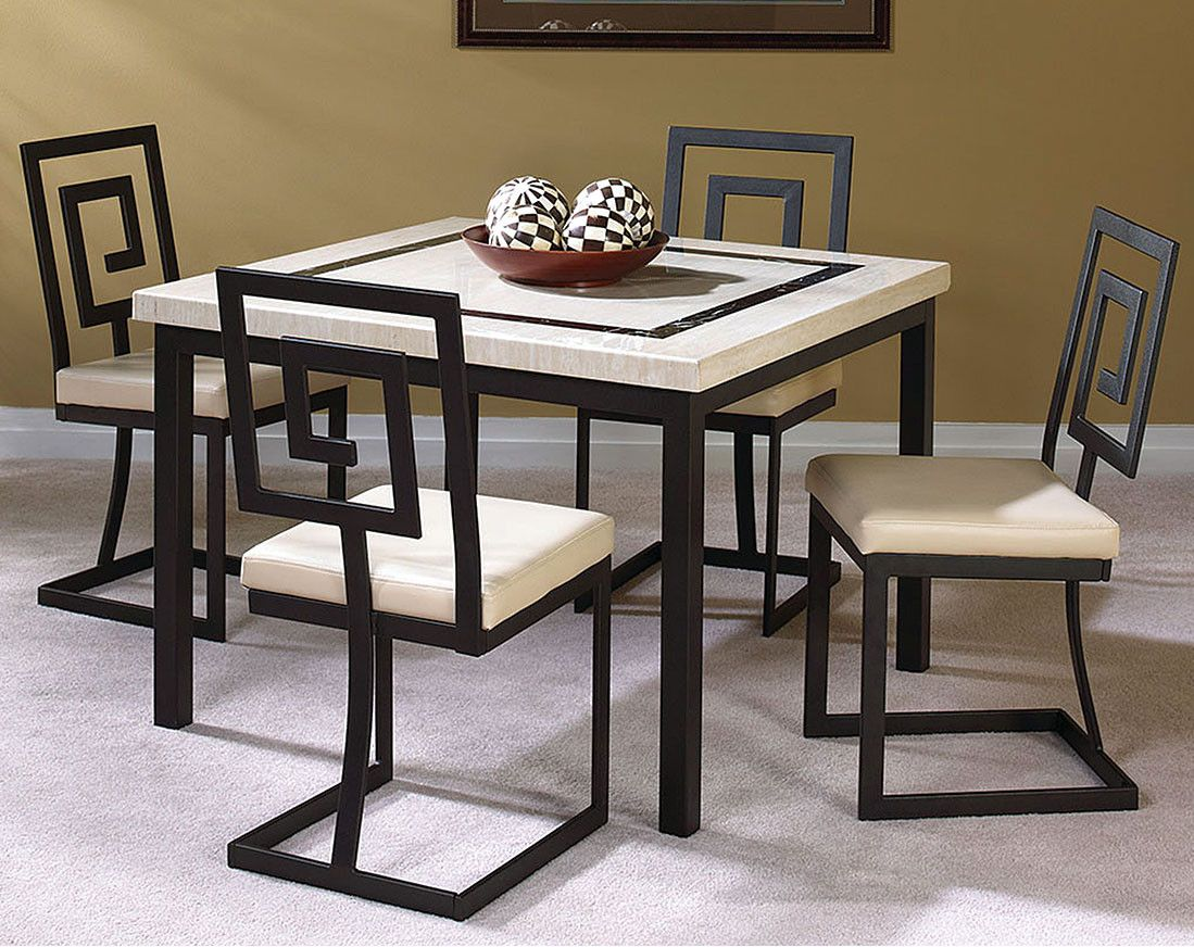 Black Metal Chairs with Ivory Marble Top | Maze 5 Piece Dining Set ...
