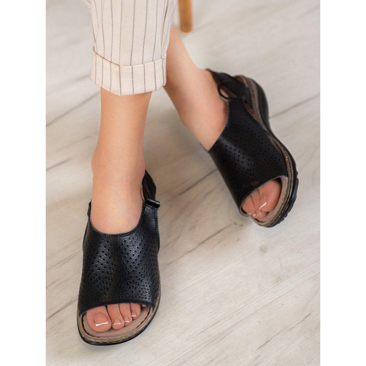 Wygodne Skorzane Obuwie Vinceza Czarne Shoes Sandals Birkenstock