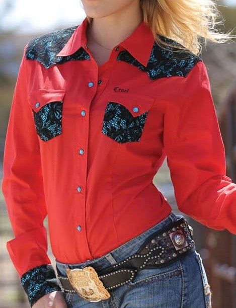 Cruel girl rodeo western barrel red lace trim snap shirt for Ranch dress n rodeo shirts