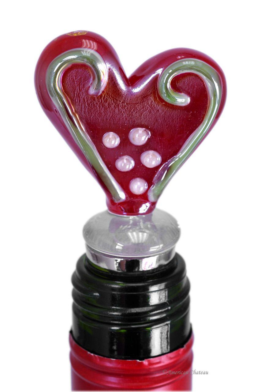 Murano Art Glass Gold Fused Heart Wine Bottle Stopper At4nd226 Wine Bottle Stoppers Wine Bottle Dressing Bottle Stoppers