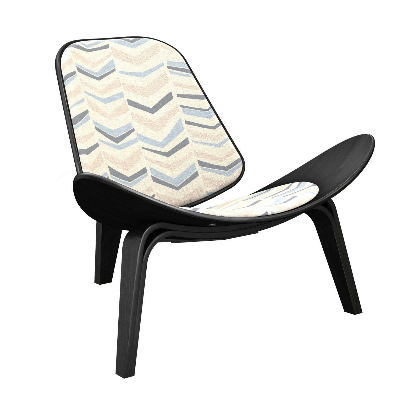 Best Nyekoncept Shell Chevron Accent Chair Blue Beige In 2019 640 x 480