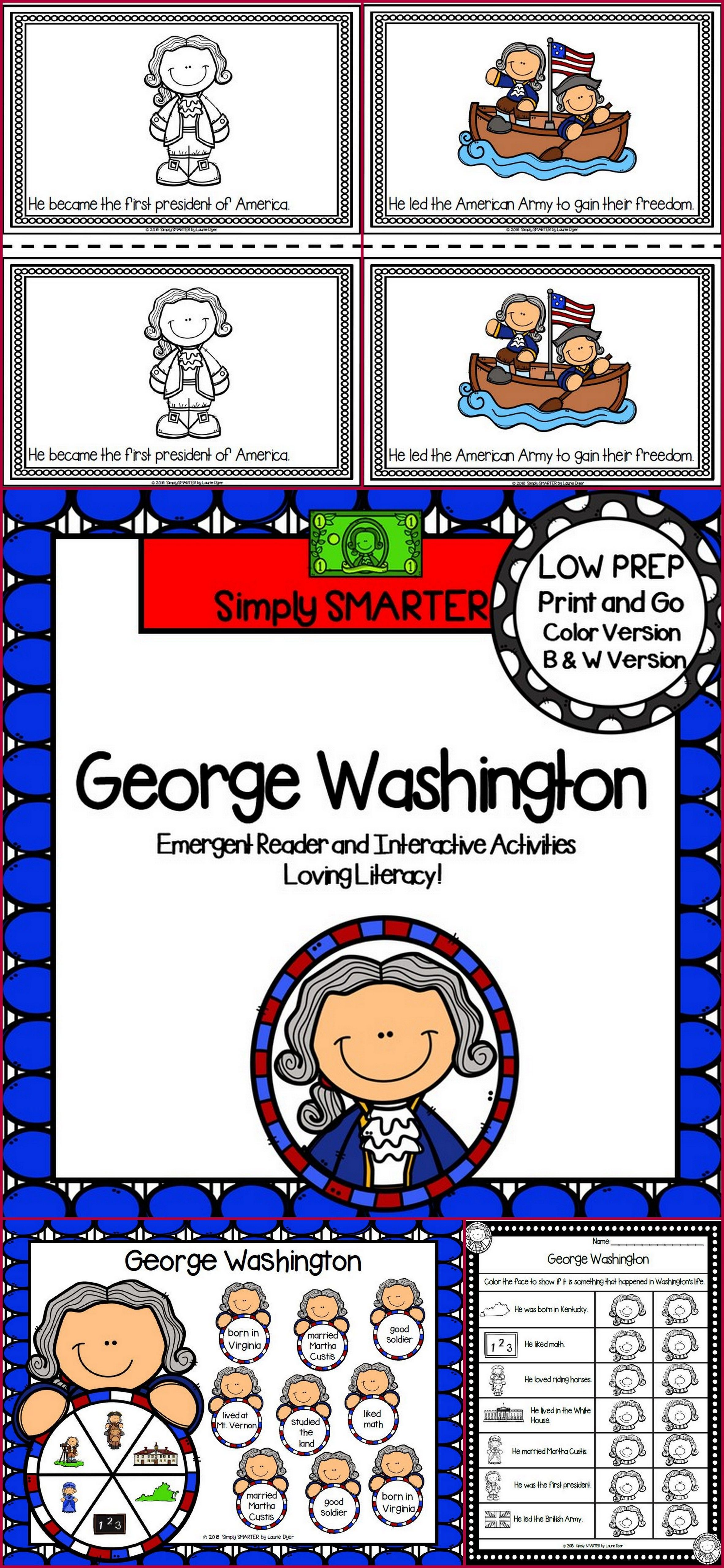 George Washington Emergent Reader Book And Interactive