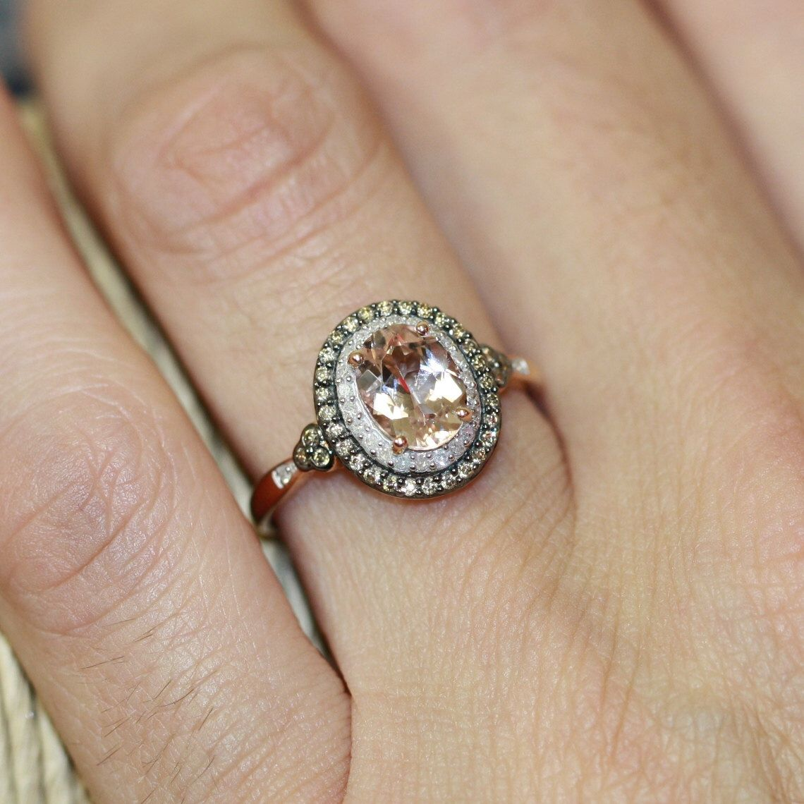 Champagne Diamond And Morganite Engagement Ring In 10k Rose Gold Pink Halo Wedding Band Ready To Ship Resizable