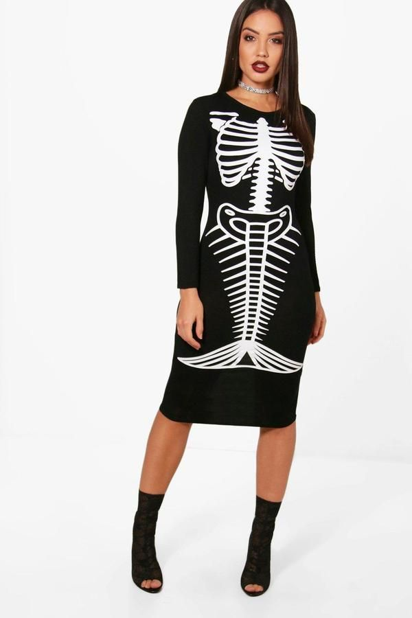 612ceeaa8c645 boohoo Ella Halloween Mermaid Skeleton Midi Dress | Products ...