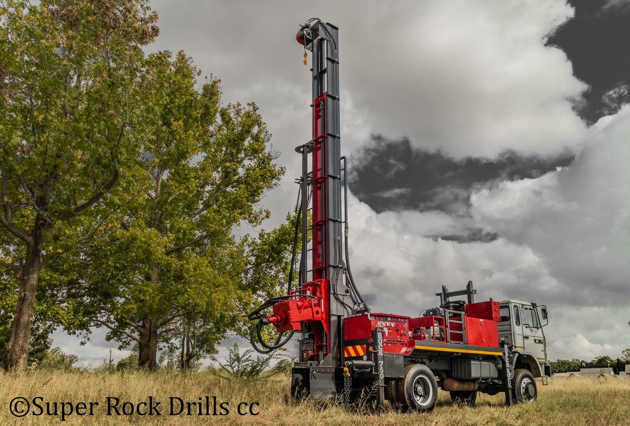 A Super Rock 750 water well drill rig manufactured by