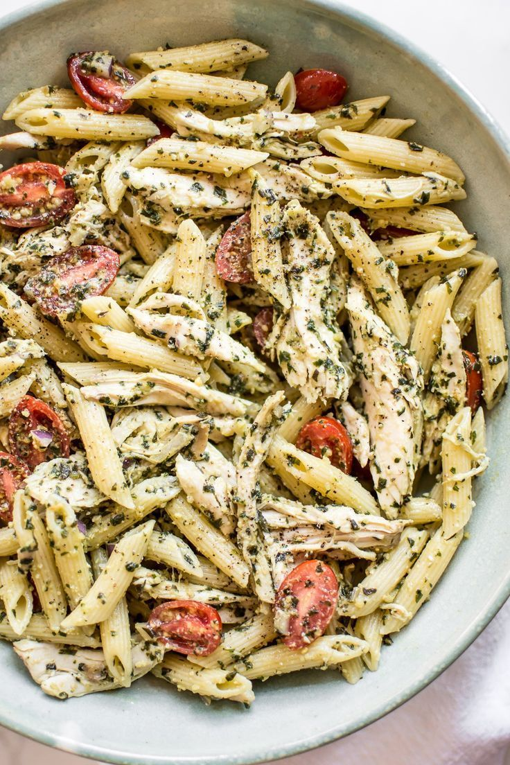 Pesto Pasta Salad This healthy cold pesto pasta salad with chicken is simple to make and bursting with the fresh taste of basil and tomatoes.This healthy cold pesto pasta salad with chicken is simple to make and bursting with the fresh taste of basil and tomatoes.