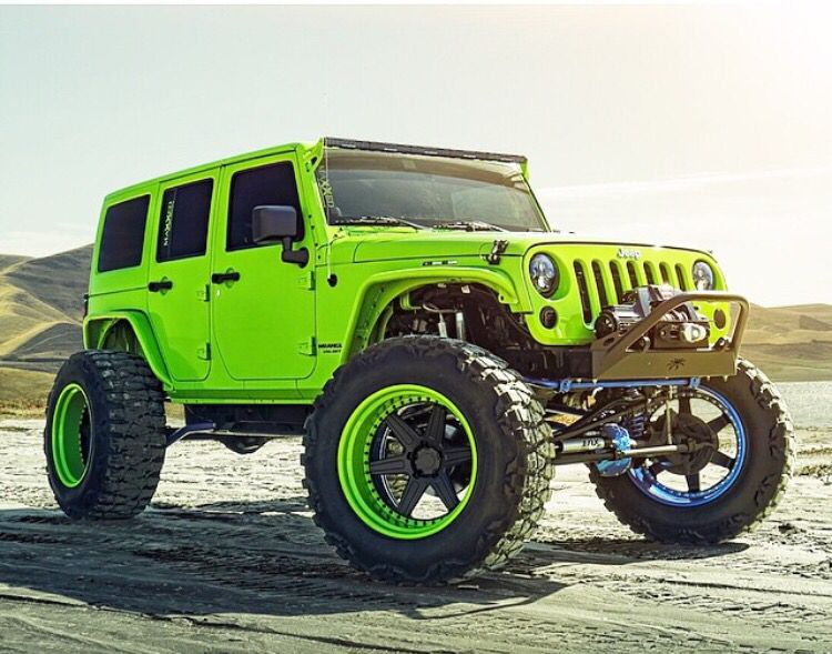 Lime Green Jeep Jk With Matching Wheels Ready To Hit The Trails Green Jeep Dream Cars Jeep Jeep