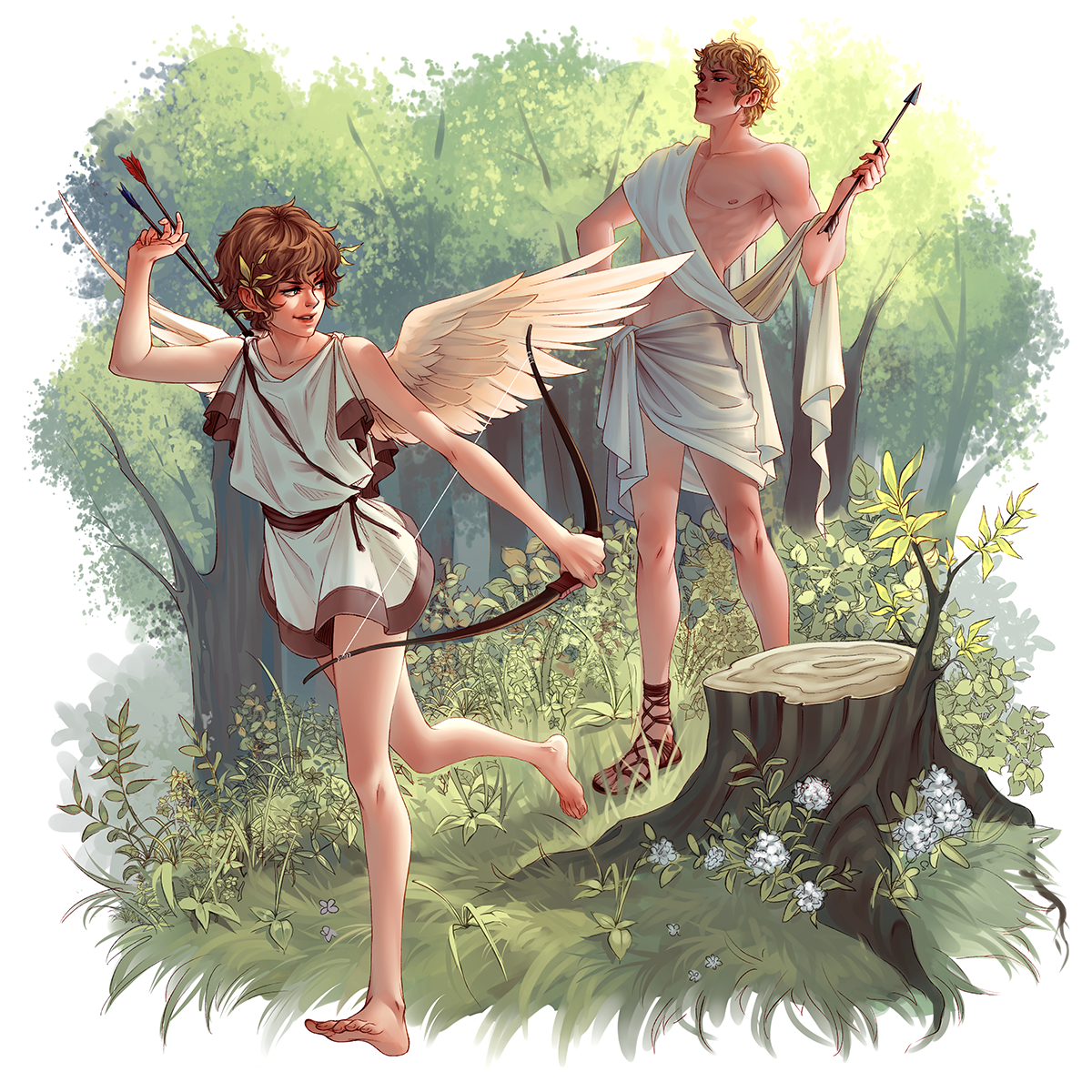 Eros and Apollo by whispwill | Illustrations in 2019 | Greek