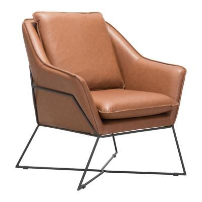 Zuo Lincoln Saddle Lounge Chair Leather Lounge