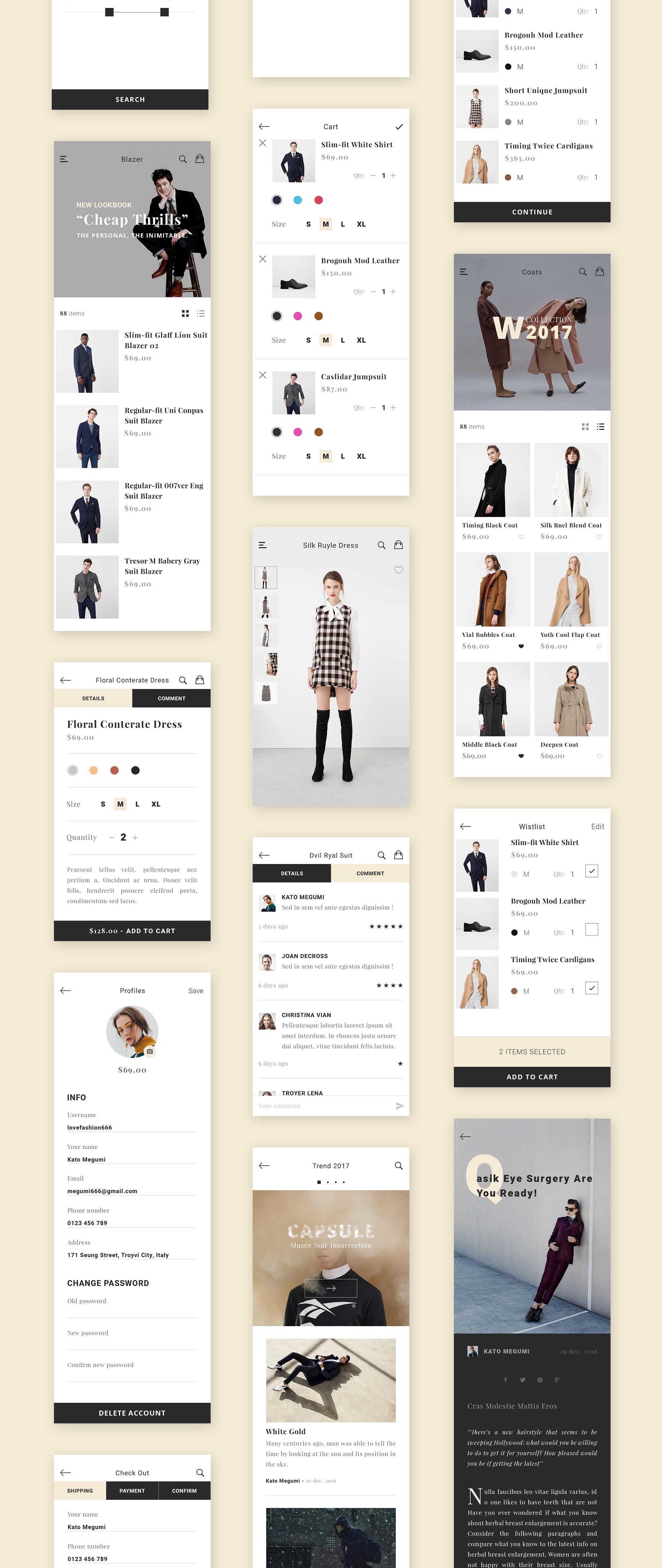 Zet E Commerce App Ui Kit Is A High Quality Fashion App Interface