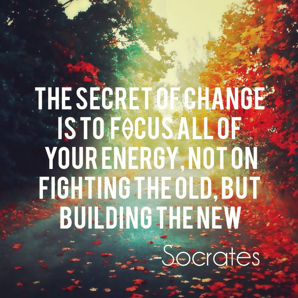 The secret of change is to focus all of your energy not on fighting the  old, but building the new. -… | Reassurance quotes, Celebration quotes,  Inspirational quotes
