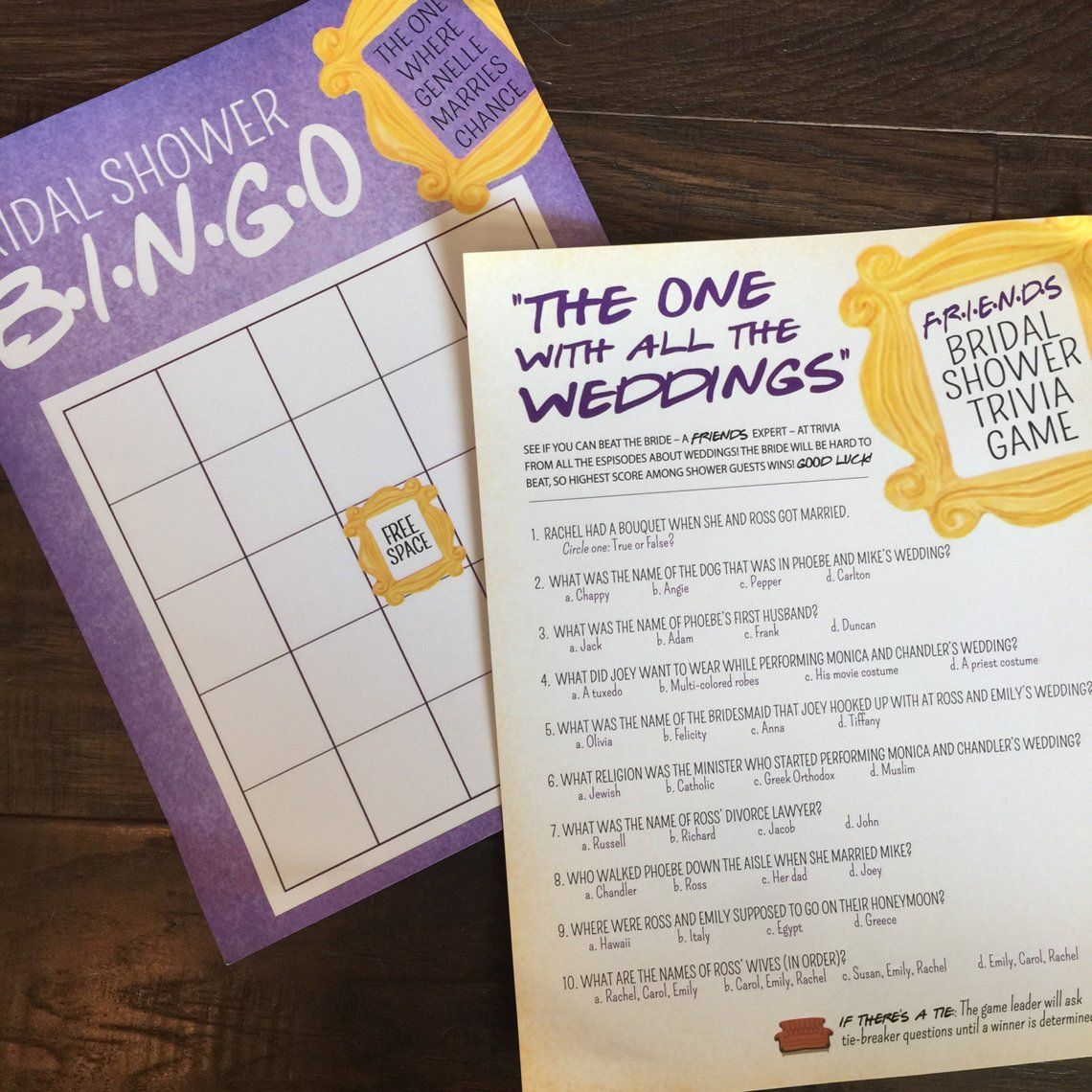 friends tv show bridal shower game printables friends bingo friends tv show trivia bridal shower games the one with all the weddings
