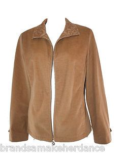 St John Sport by Marie Gray Tan Corduroy Zip Up #Jacket #Camel #Fall #Trends Sz M | $49.99