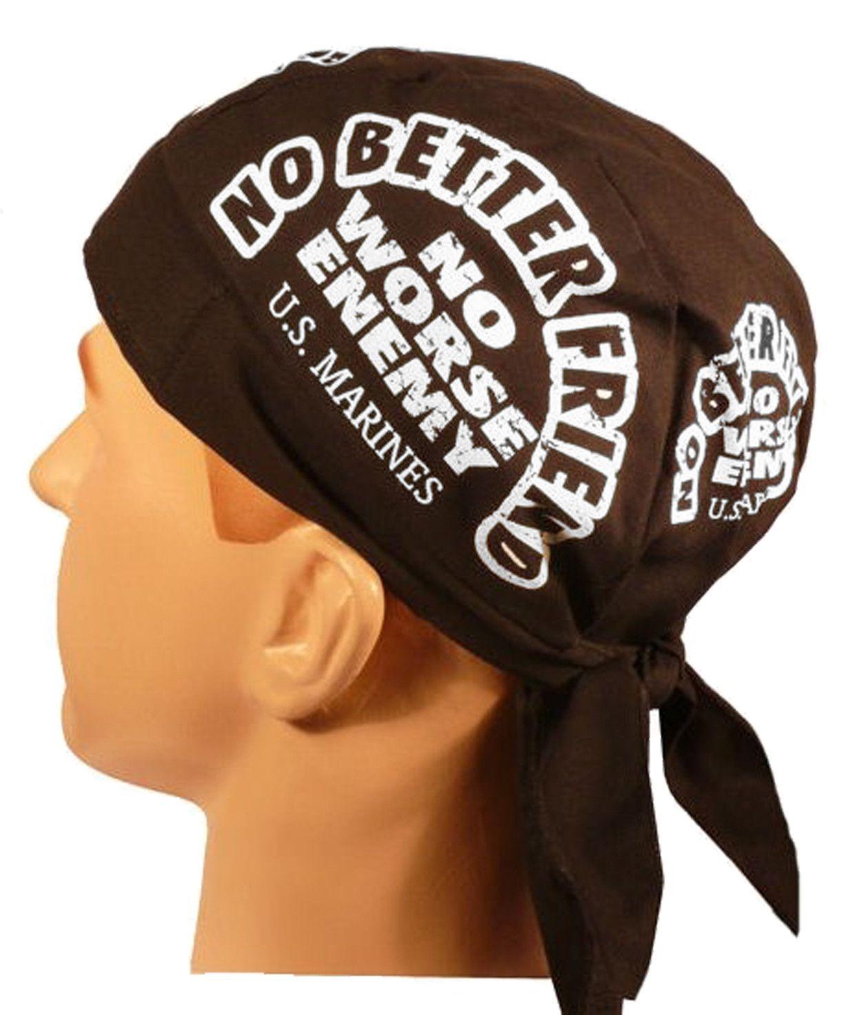 Marine Deluxe Doo Rag SWEAT BAND Black Head Wrap Durag Skull Cap Cotton  Sporty Motorcycle Do Hat 4fb1130948c6