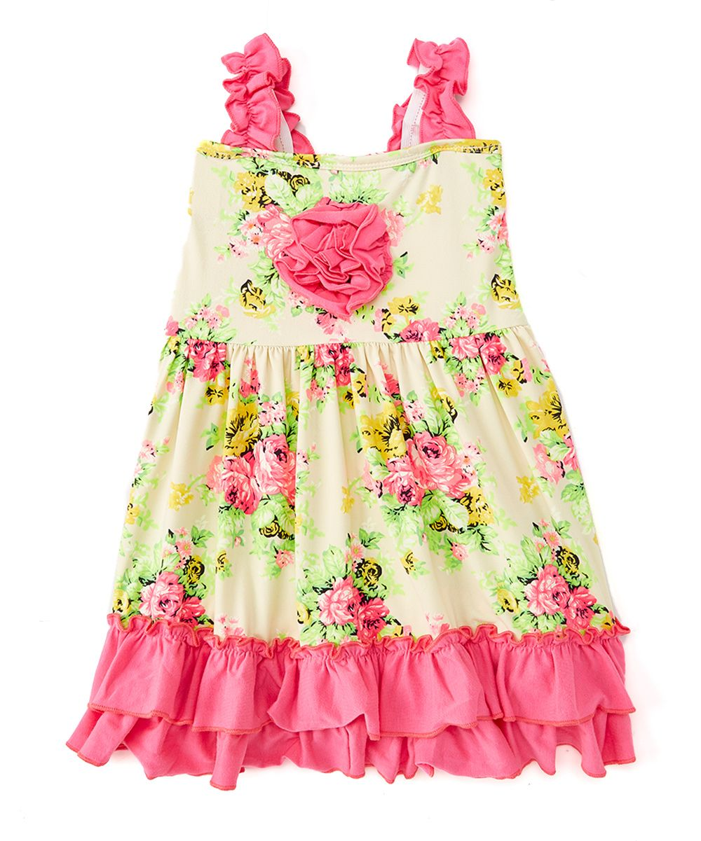 85c77f5a5 Yellow Floral   Pink Rosette Swing Dress - Infant Toddler   Girls ...