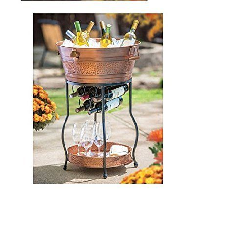 Galvanized Copper Party Bucket With Stand And Tray 9 25 Gallon Capacity Host A Stylish Party With This Beautiful Galvanized Wine Tub Copper Party Party Bucket