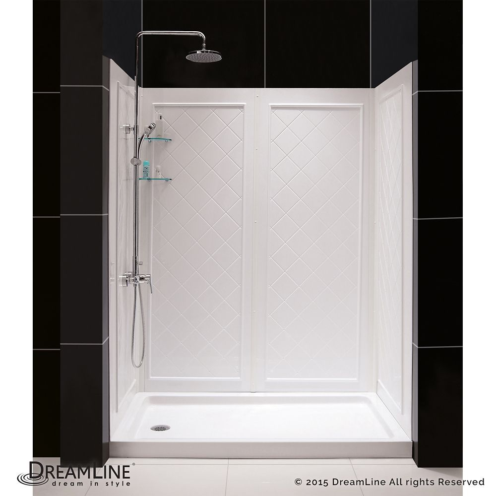 Slimline 34 Inch X 60 Inch Single Threshold Shower Base In White Center Drain Base With Back Walls Shower Installation Dreamline Acrylic Shower Base