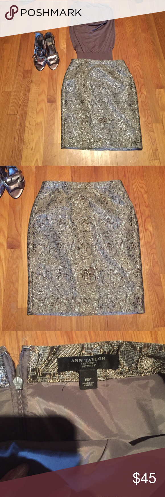 Ann Taylor silver skirt perfect for Holidays. Ann Taylor silver skirt perfect for Holidays. Ann Taylor Skirts Midi