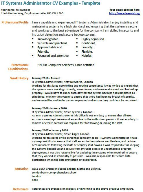 it systems administrator cv example tech Pinterest Cv - administrator resume