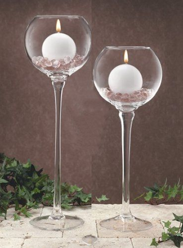 Tall Gl Tealight Candle Holders Pedestal Stemmed Glware Pillar