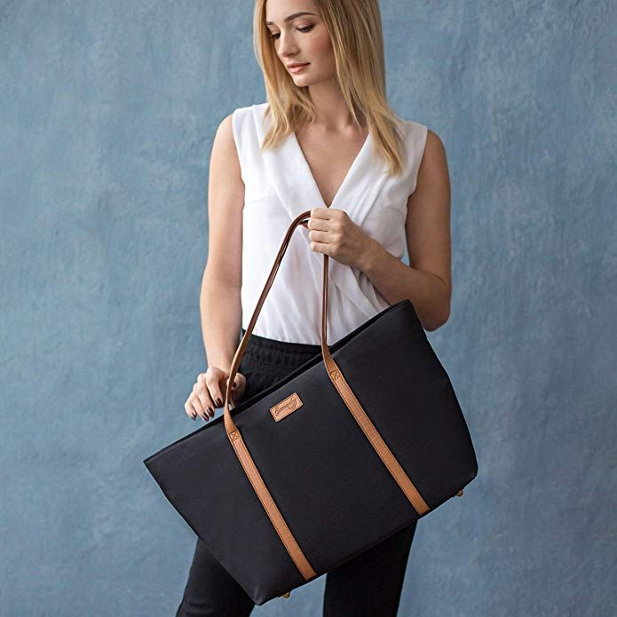 ZMSnow Laptop Bag,Classic Contrast Color Women Work Tote Bag 15.6 Inch Briefcase for Business