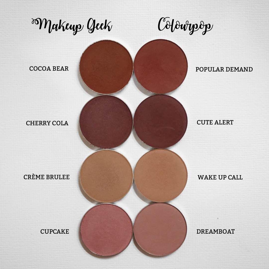 Makeup Geek Haul Swatches Comparison With Colourpop Flrncx Dayre Makeup Geek Makeup Geek Eyeshadow Makeup