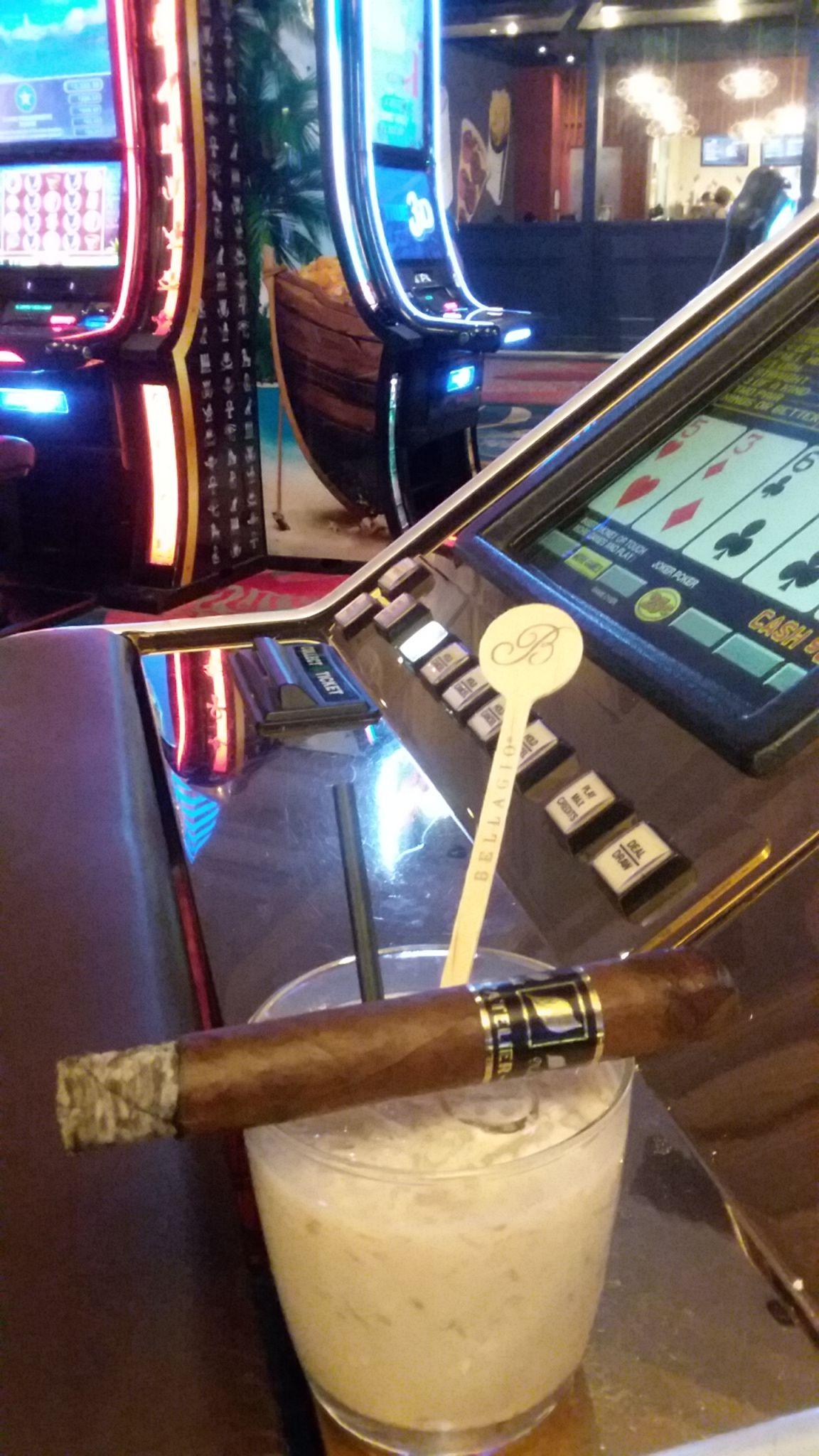 Smoking Cigar in Casino
