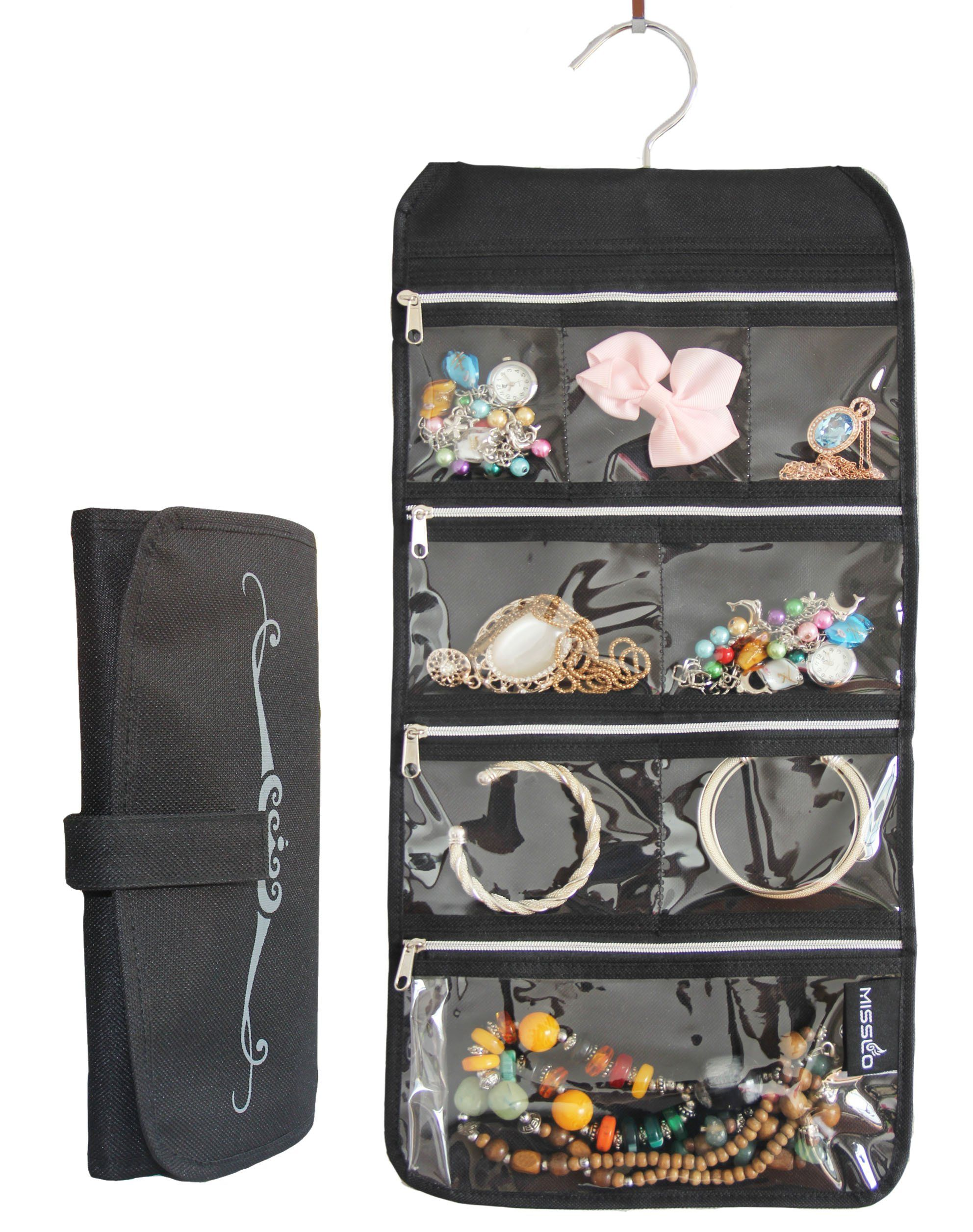 Misslo 8 Zippered Pockets Travel Jewelry Roll up Organizer with