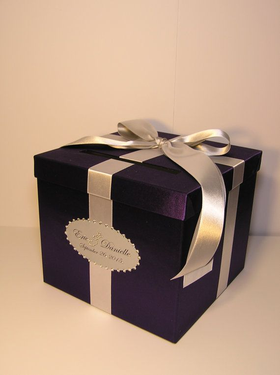 Purple And Silver Wedding Card Box Gift Card Box Money Box Holder Customize In Your Color 10x10 Card Box Wedding Silver Wedding Cards Silver Wedding Card Box