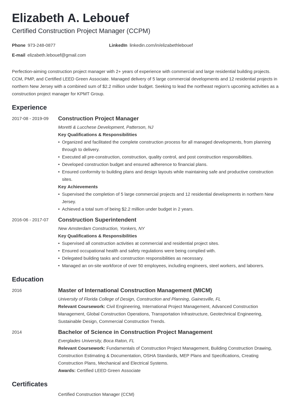 Construction Manager Resume Project Manager Resume Teacher Resume Examples Resume Examples