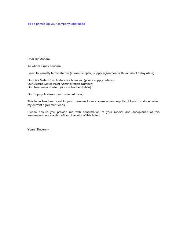 Letter Cancellation Business Contract For Services Service