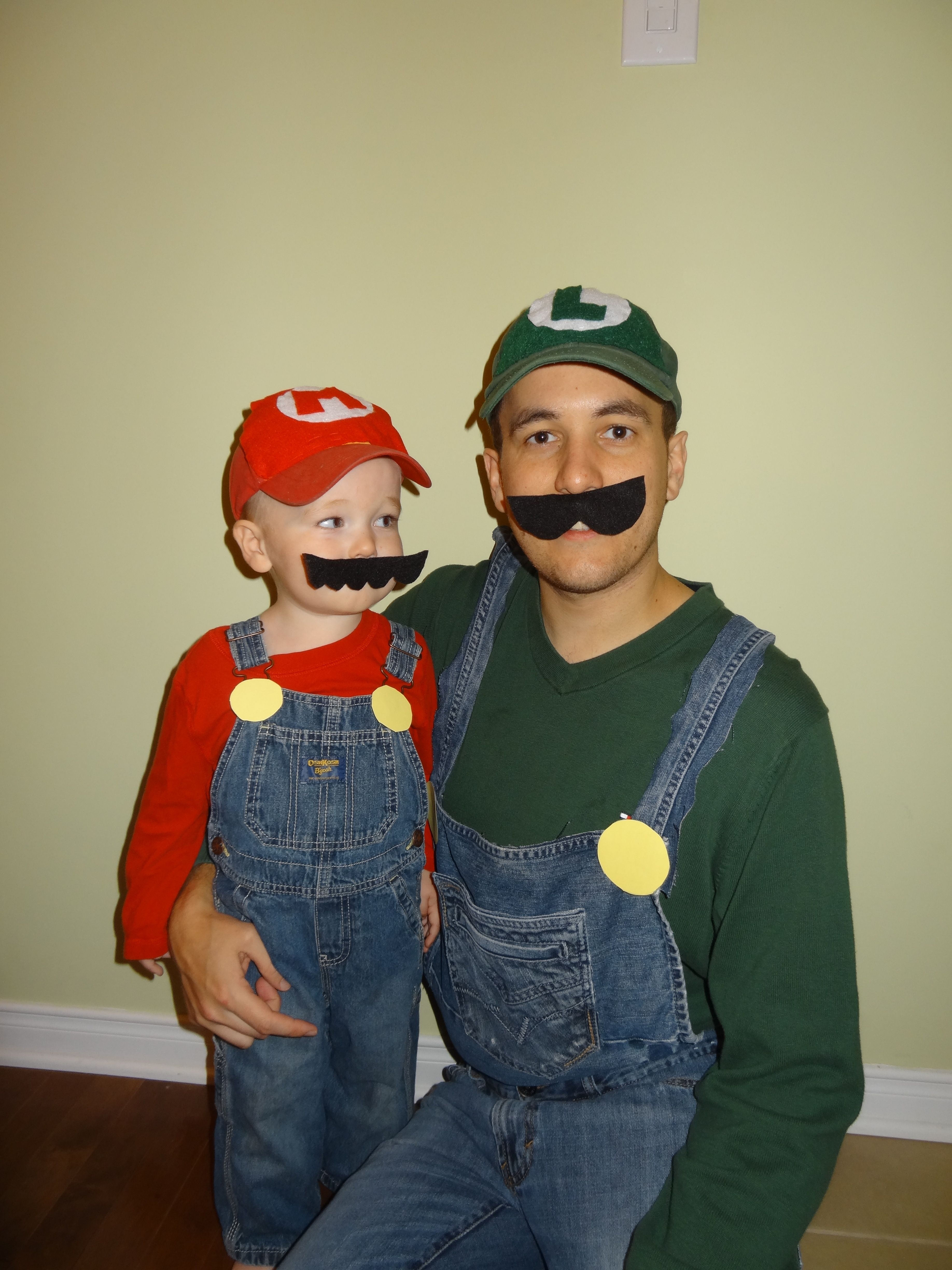mario and luigi. father and son costume. 2 year old boy costume