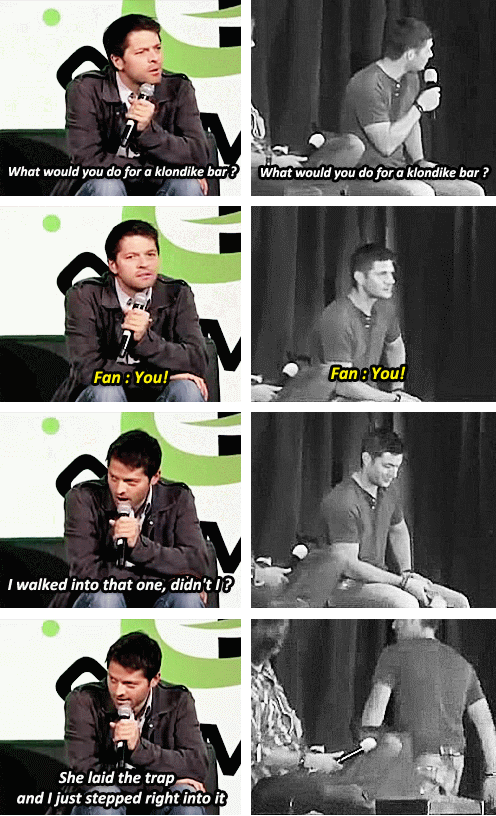 """[SET OF GIFS] """"What would you do for a Klondike bar?"""" Misha convention panel vs. Jensen and Jared convention panel"""