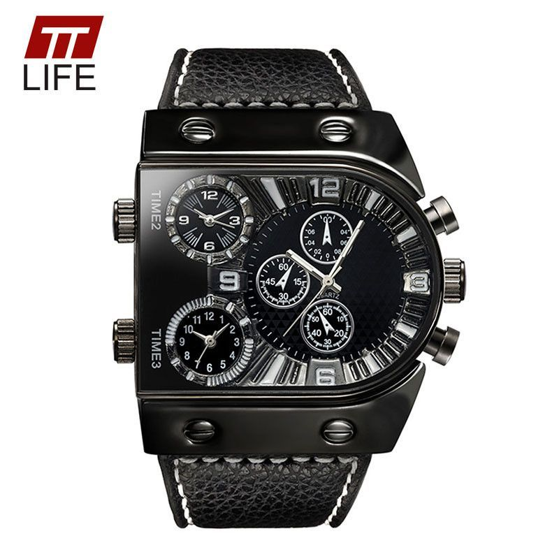 TTLIFE Fashion Mens Watches Top Brand Luxury Leather Strap Mens Watch Sports Multi Time Zone Quartz Male Military Wrist Watches