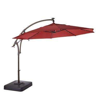 LED Round Offset Patio Umbrella In Red Water Resistant With Led Lights