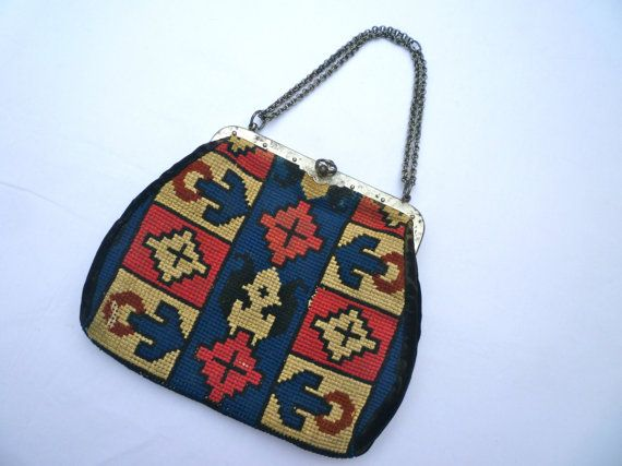 1950s Framed TAPESTRY BAG with Feature CLASP.Beautiful.Huge Reduction