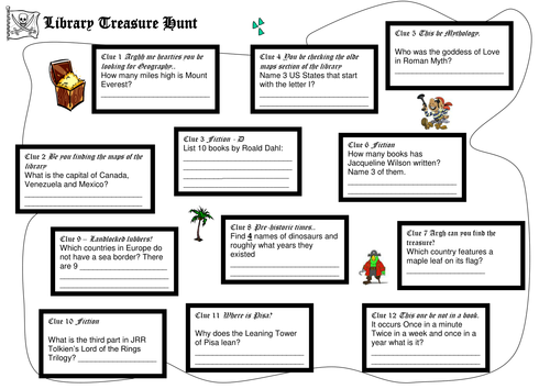 Library Treasure Hunt by Temperance Teaching Resources TES – Library Scavenger Hunt Worksheet