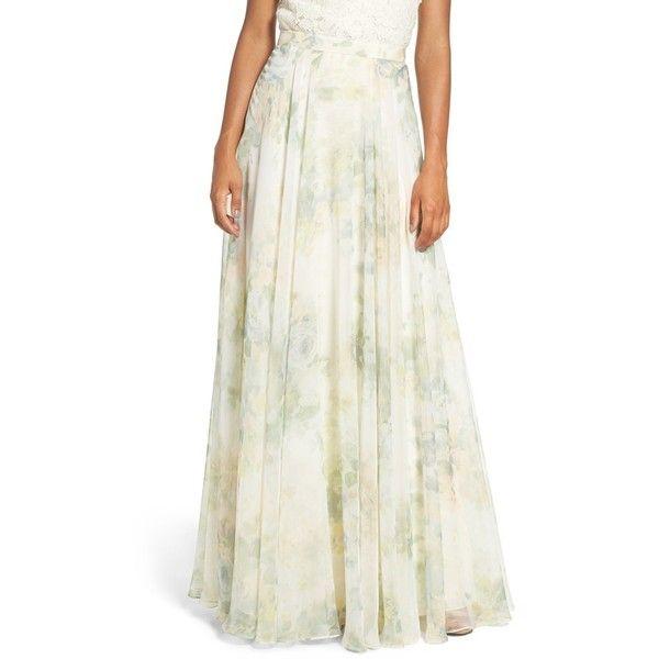 097f8a86fce82 Women's Jenny Yoo 'Hampton' Print Chiffon Long A-Line Skirt ($235) ❤ liked  on Polyvore featuring skirts, vintage floral, long chiffon skirt, long  floral ...