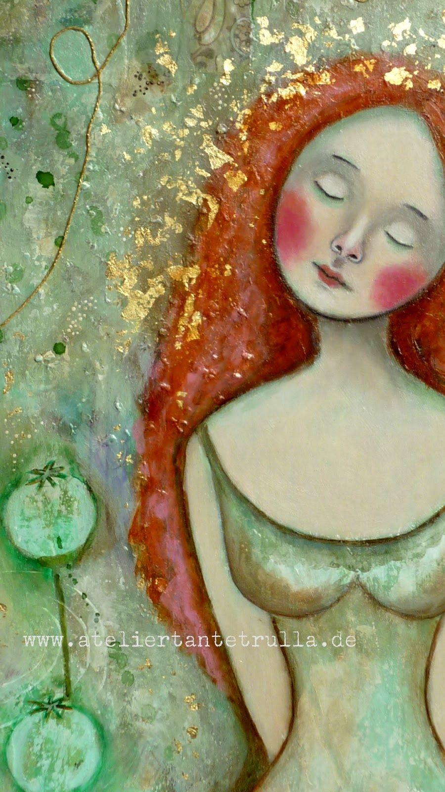 "Atelier Tante Trulla: Mixed Media Gemälde ""Fedora"""