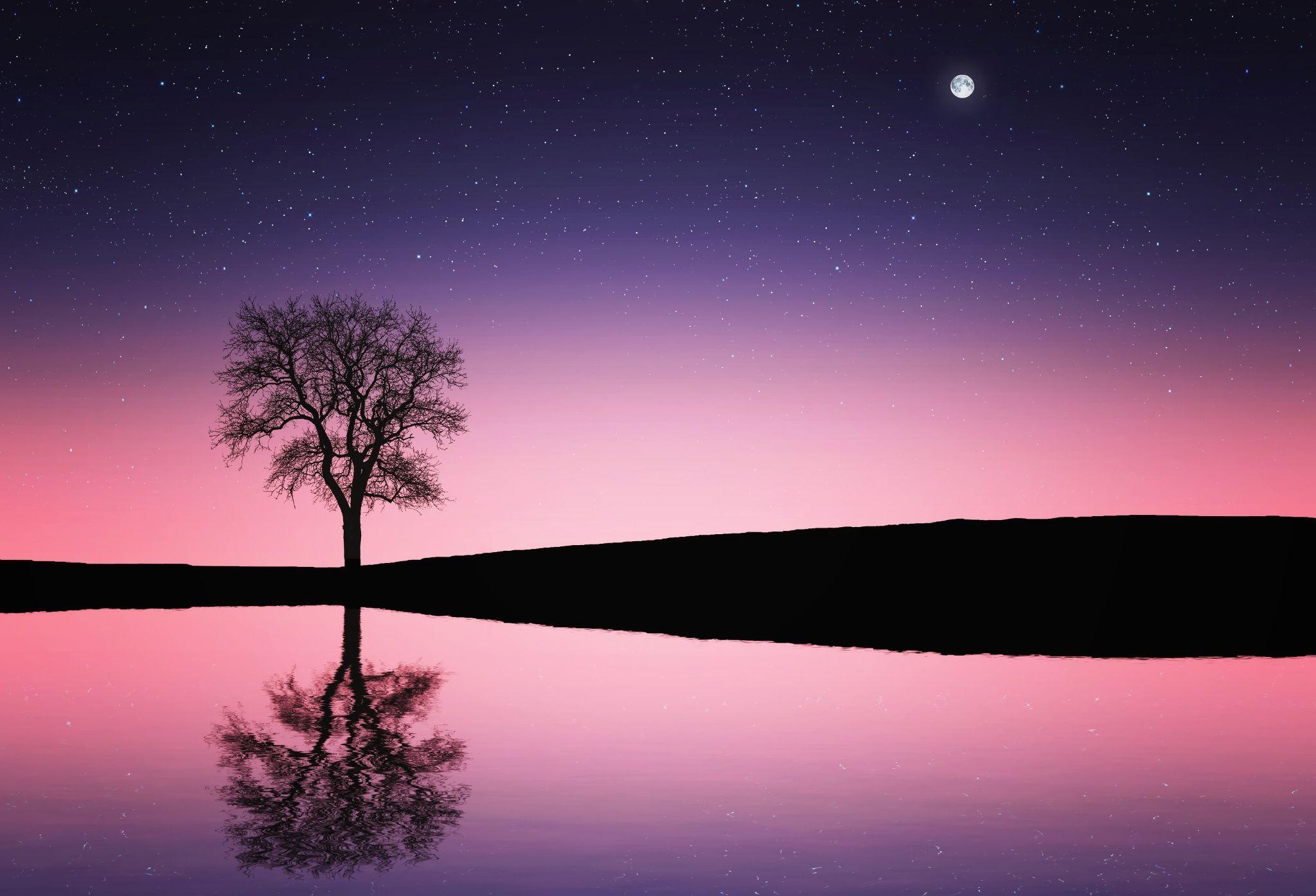 Red night sky along lake with reflection by Bess Hamiti