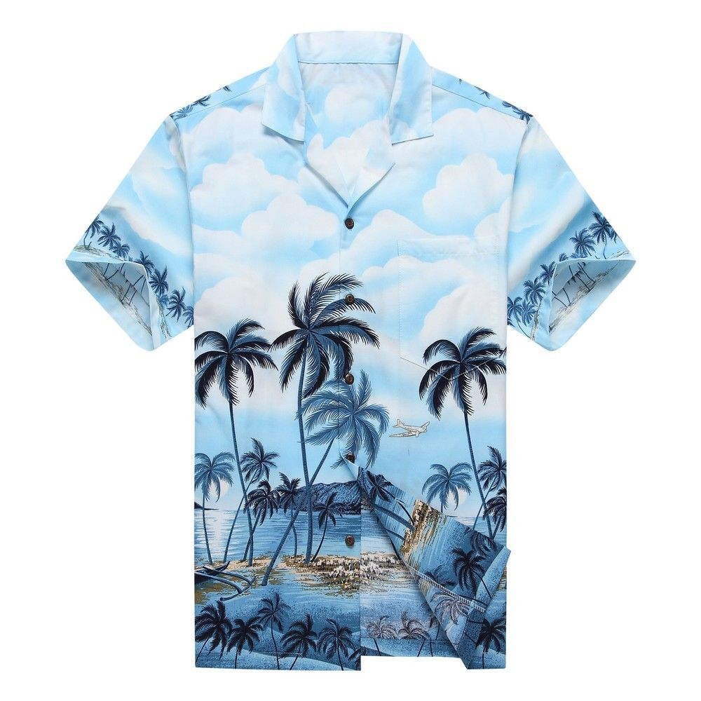 893cd234 Made in Hawaii Men Hawaiian Aloha Shirt Luau Cruise Party Parrots Palm Blue  Shirts & Hemden Herrenmode