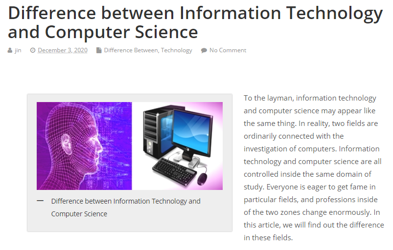 Difference Between Information Technology And Computer Science Information Technology Computer Science Science
