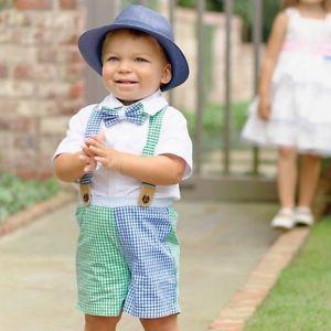 Mud-Pie-Easter-Boy-Blue-Green-Seersucker-Suspenders-Short-Bow-tie-size-12-18M