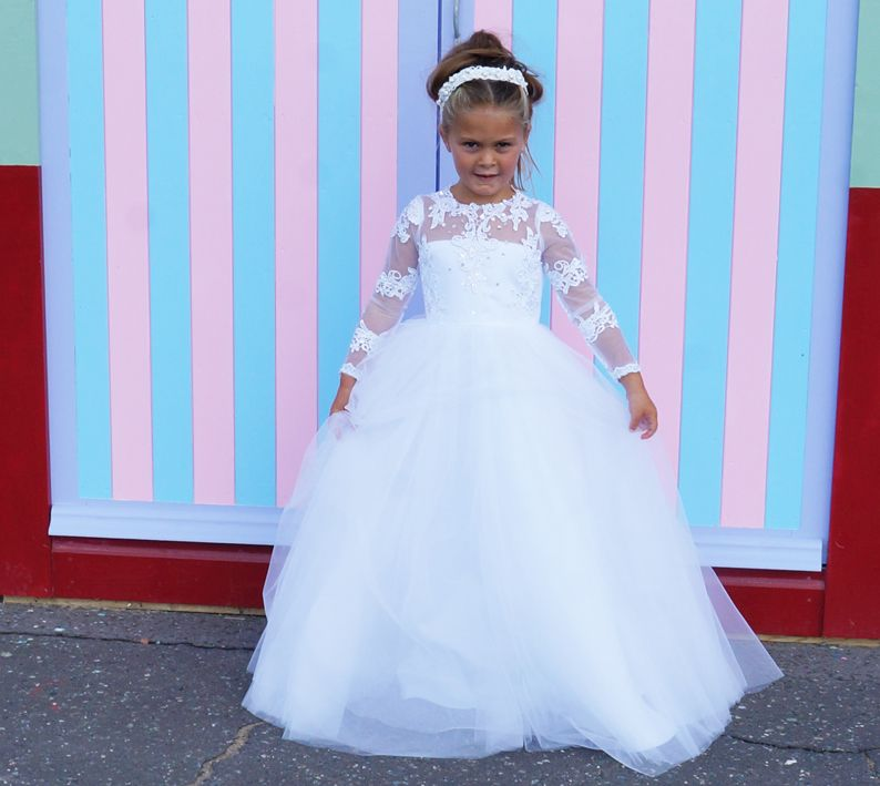 Cynthia flower girl dress in white or ivory tulle