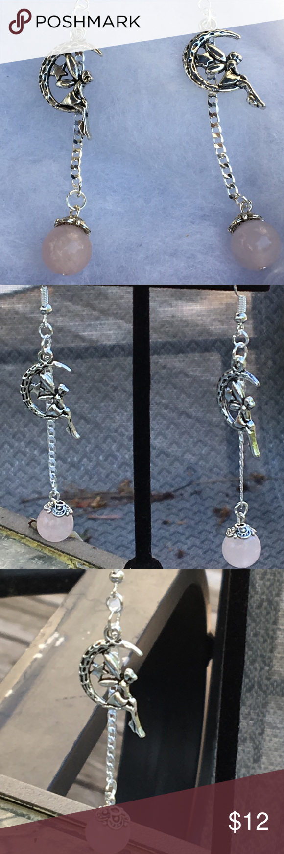 497116b27 Pink Rose Quartz Silver Fairy Earrings These lovely earrings are made with  natural rose quartz and