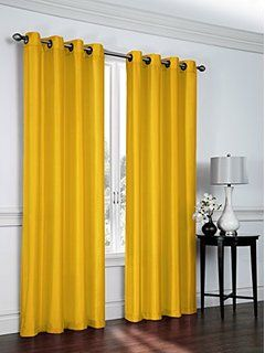 2 Piece Faux Silk Grommet Curtain Panels 54 By 84 Inch Total Width 108 X Panel Curtains Yellow Curtains