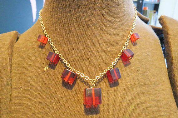 Vintage Amber Cherry Bakelite Squares 8 Chain by AdoredAnew
